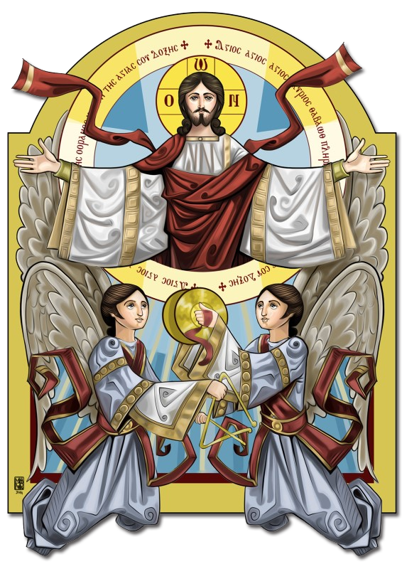 Icon Christ with praising angels
